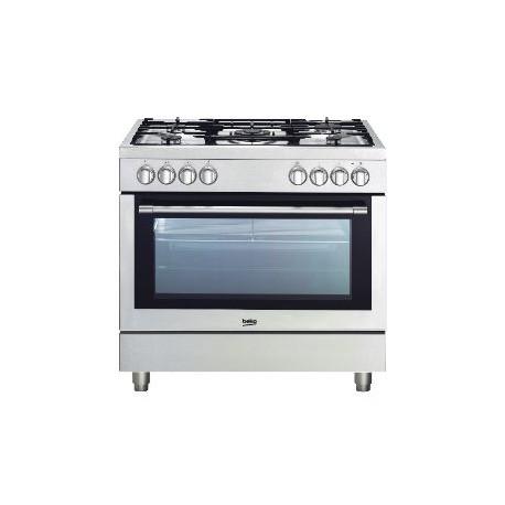 cuisiniere 5 feux gaz sur four electrique beko gm15120dxpr. Black Bedroom Furniture Sets. Home Design Ideas