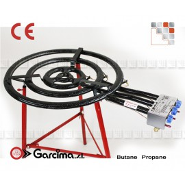 BRULEUR A PAELLA 60CM 3 RAMPES THERMOCOUPLE + PIEDS