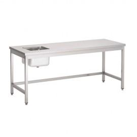 TABLE DU CHEF INOX SANS TABLETTE INFERIEURE 2000 x 700 x 850H LP HORECA MATERIEL HORECA HAINAUT NAMUR CHARLEROI LIEGE