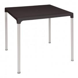 TABLE BOLERO CARREE NOIRE 75CM AVEC PIEDS EN ALUMINIUM LP HORECA MATERIEL HORECA NAMUR CHARLEROI HAINAUT LIEGE