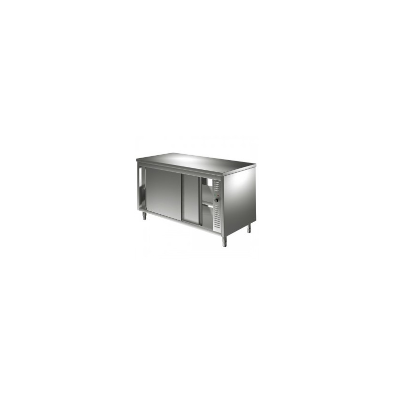 Table armoire chauffante a portes coulissante lp horeca for Table armoire inox
