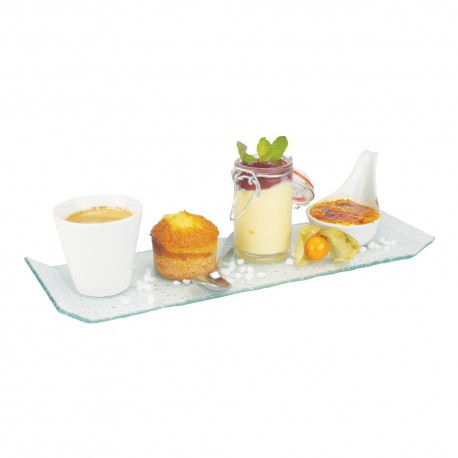 Lot de 4 assiettes en verre cafe gourmand lp horeca for Petit materiel cuisine