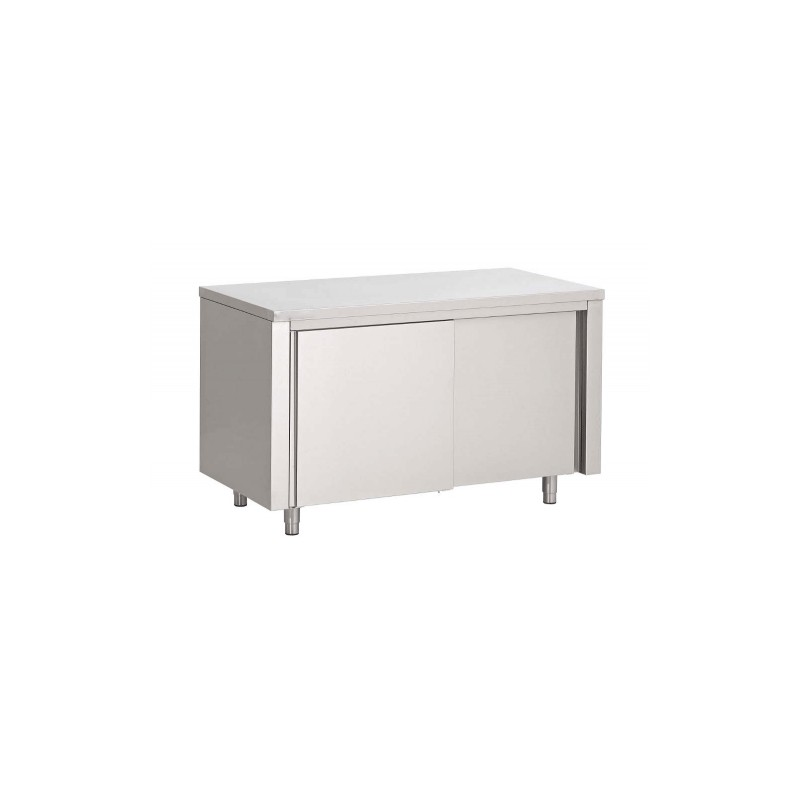 Table armoire inox 1000x700x850h mm avec portes coulissantes for Armoire inox cuisine